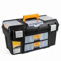 Ящик для инструментов 21' IDEA 'Гефест', с двумя консолями и коробками, цвет черный