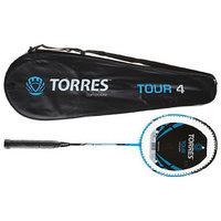 Ракетка для бадминтона TORRES, Tour4, BD-501, для любителей, стержень из графита, алюминиевый обод, со