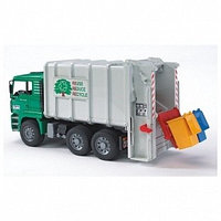 Bruder 02-764, Мусоровоз MAN (цвет кузова серый, кабины – зеленый)