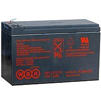 Аккумулятор WBR GPL 1272, напряжение 12 В и ёмкость 7,2 Ач