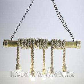 Люстра Лофт F 17/6 Rope-Bambuk E27*6, фото 2