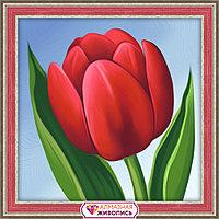 Картина стразами на холсте «Красный тюльпан», 15*15см