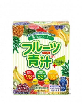 """Фруктовый Аодзиру + молодые листья ячменя """"Fruit Aojiru + Omugi Wakaba"""" Japan Gals, 3 гр х 24 саше"""