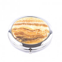 Зеркало карманное круглое из оникса цвет серебро
