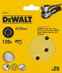 Шлифовальные круги DEWALT DT3115, 125 мм, 8 отверстий, 120G, 25 шт.