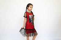 Платье с сеткой и бантом для девочки