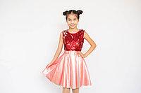 Платье с пайетками и атласной юбкой для девочки