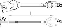 Ключ кованый комбинированный с храповиком и шарнирной головкой - 161 UNIOR, фото 2