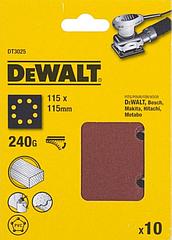 Шлифлисты перфорированные DEWALT DT3025, 115 x 115 мм, 240G, 10 шт.