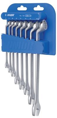 Набор ключей комбинированных с изгибом в пластиковом подвесе - 130/1PH UNIOR