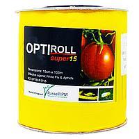 Клеевая ловушка Russell IPM Optiroll Super15 против белокрылки Желтая c рисунком без феромона Рулон 15х100м