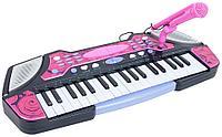 Детский синтезатор B2291 розовый с микрофоном 37 клавиш