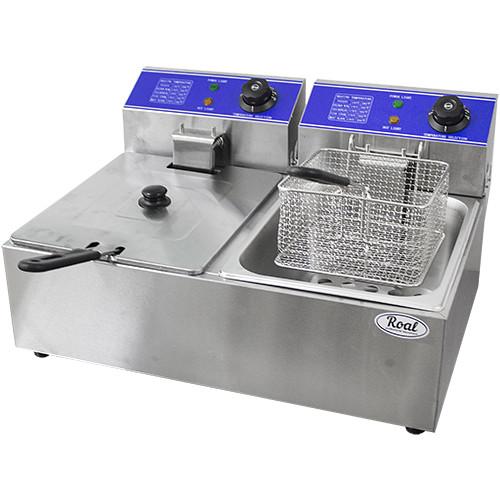 Фритюрница настольная электрическая  HEF-6L-2 (560х440х300 мм, 2х6 л, 2,5кВт+2,5кВт, 220В) 2 емкости