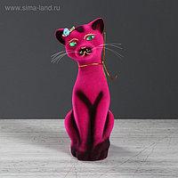 """Копилка """"Кошка Аннет"""", флок, розовая, 24 см"""