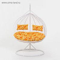Подвесное кресло, с подушкой, искусственный ротанг, белое, 45-004-05