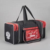 Сумка спортивная, отдел на молнии, 3 наружных кармана, цвет чёрный/красный