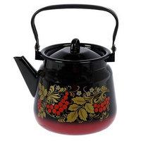 Чайник сферический, 3,5 л, цвет красно-чёрный