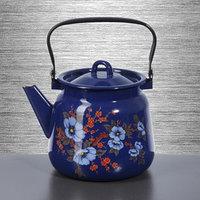 Чайник 3,5 л, с декором, цвет кобальтовый, рисунок МИКС
