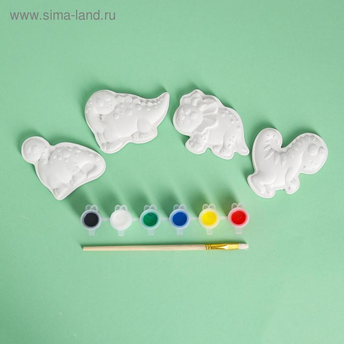 Набор магнитов под раскраску 4 шт «Динозавры», краска 6 цв по 2 мл, кисть - фото 2