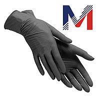 Перчатки виниловые черные/прозрачные