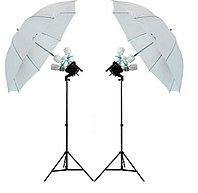 2 зонта 110 см на просвет на стойках с головками на 4 лампы с люминесцентными лампами 1