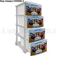 Комод 4-х секционный с ящиками для дома пластиковый с принтом Мотокросс Poccпласт серый