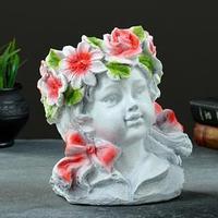 Ваза 'Девочка - цветочек' белая с розовым, 24х20х17см