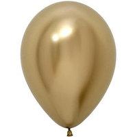 Шар латексный 12', хром, набор 50 шт., цвет золотой