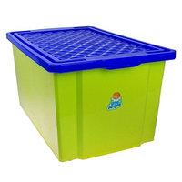 Ящик для игрушек Little Angel 'Лего', 57 л, на колесах с крышкой, цвет фисташковый