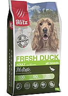 Низкозерновой сухой корм для собак всех пород Blitz Holistic Fresh Duck Adult Dog (Low Grain) утка, фото 1