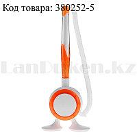 Ручка шариковая на подставке с пружинкой (стержень синий) оранжевая