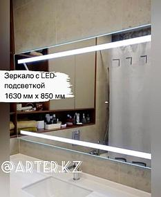 Зеркало с LED подсветкой и пескоструйным рисунком, 850(В)мм х 1630(Ш)мм