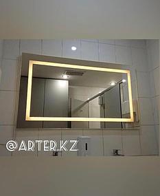 Зеркало с LED подсветкой и пескоструйным рисунком, 700(В)мм х 1200(Ш)мм
