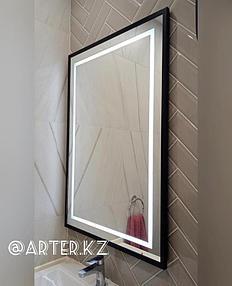 Зеркало с LED подсветкой и пескоструйным рисунком в черной металлической раме, 1100(В)мм х 750(Ш)мм