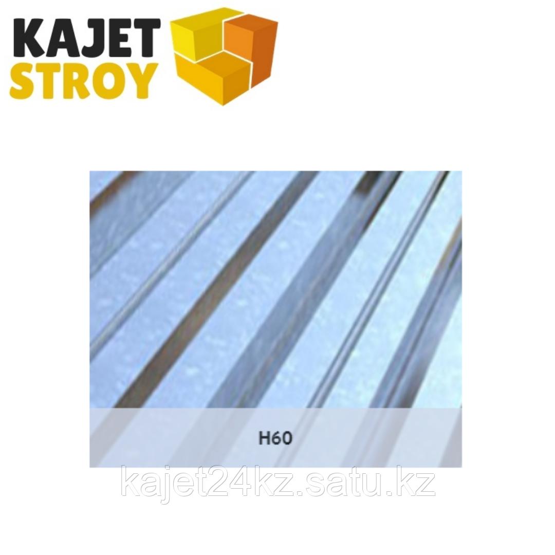 Профлист оцинкованный H60 (ГОСТ 24045-94) Толщина 0,60мм, габарит/монтаж ширина 6 х 0,93/0,865м