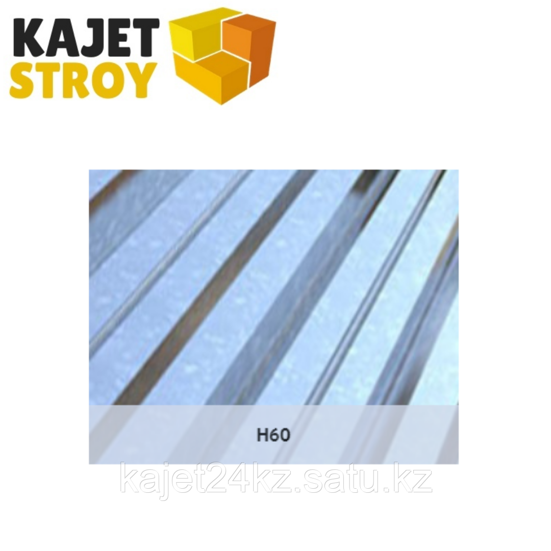 Профлист оцинкованный H60 (ГОСТ 24045-94) Толщина 0,80мм, габарит/монтаж ширина 6 х 0,93/0,865м
