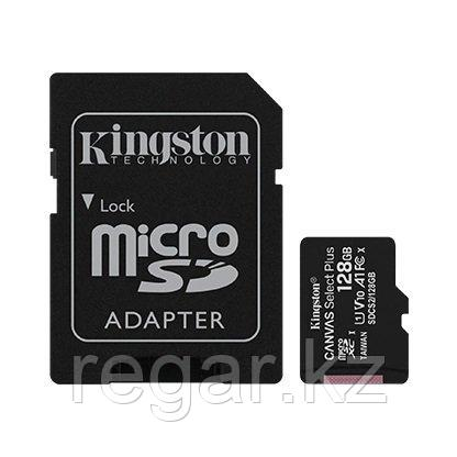Карта памяти MicroSD 128GB Class 10 UHS-I A1 C10  Kingston SDCS2/128GB