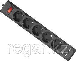 Сетевой фильтр Defender DFS 753 - 3,0 М, 2xUSB, 2.1A, 5 outlets