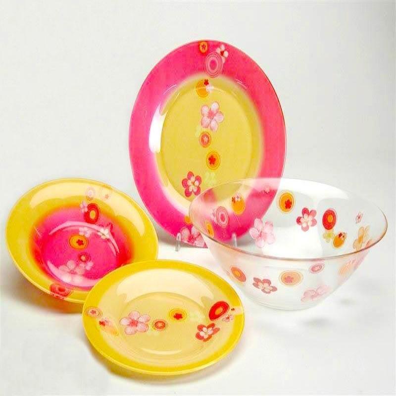 Столовый сервиз Luminarc Bubbles Flower Pink 25 предметов на 6 персон