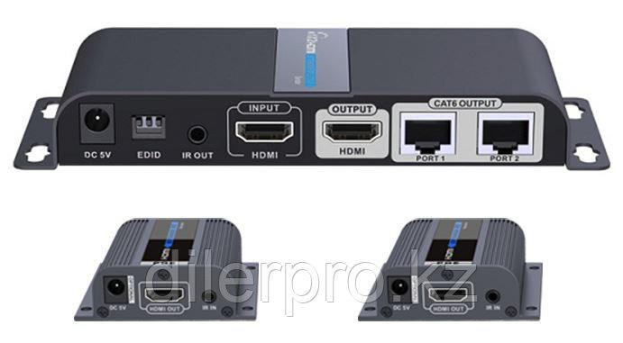 Lenkeng LKV712Pro - Разветвитель-удлинитель 1*2 HDMI, ИК, CAT6, до 40 метров
