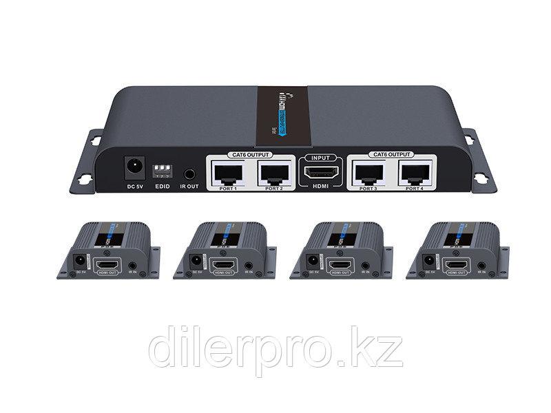 Lenkeng LKV714Pro - Разветвитель-удлинитель 1*4 HDMI, ИК, CAT6, до 40 метров