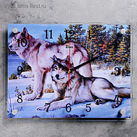 """Часы настенные, серия: Животный мир, """"Волки в зимнем лесу"""", 30х40 см, микс"""