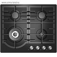 Варочная поверхность Midea MG 696 TGB, газовая, 4 конфорки, черное стекло