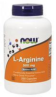 Now Foods, L-аргинин, 500 мг, 250 растительных капсул