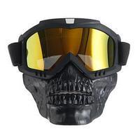 Очки-маска для езды на мототехнике, разборные, визор оранжевый, черный
