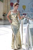 Прокат вечернего золотого платья длинного в пол по городу Алматы.