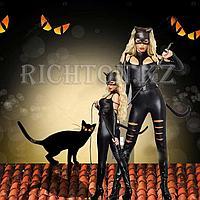 Женщина кошка костюм черный купить.