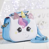 Детская сумка, отдел на молнии, цвет белый/голубой, 'Единорог'