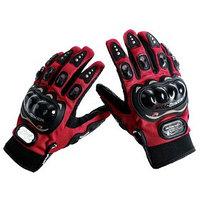 Перчатки для езды на мототехнике, с защитными вставками, пара, размер L, красный