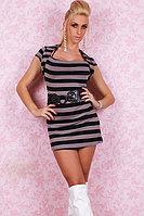 Клубное платье в полоску с поясом